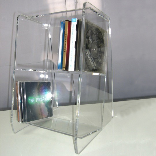 Clear Acrylic CD Display Rack Book Shelf