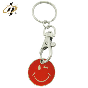 Custom metal happy smile emoji coin trolley token for shopping