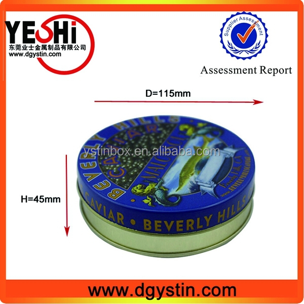 High quality food grade airtight round caviar tin can manufacturer