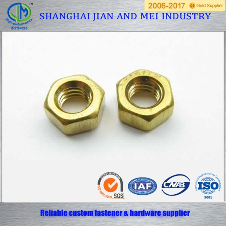 Yellow zinc plated hex slotted nut socket with groove