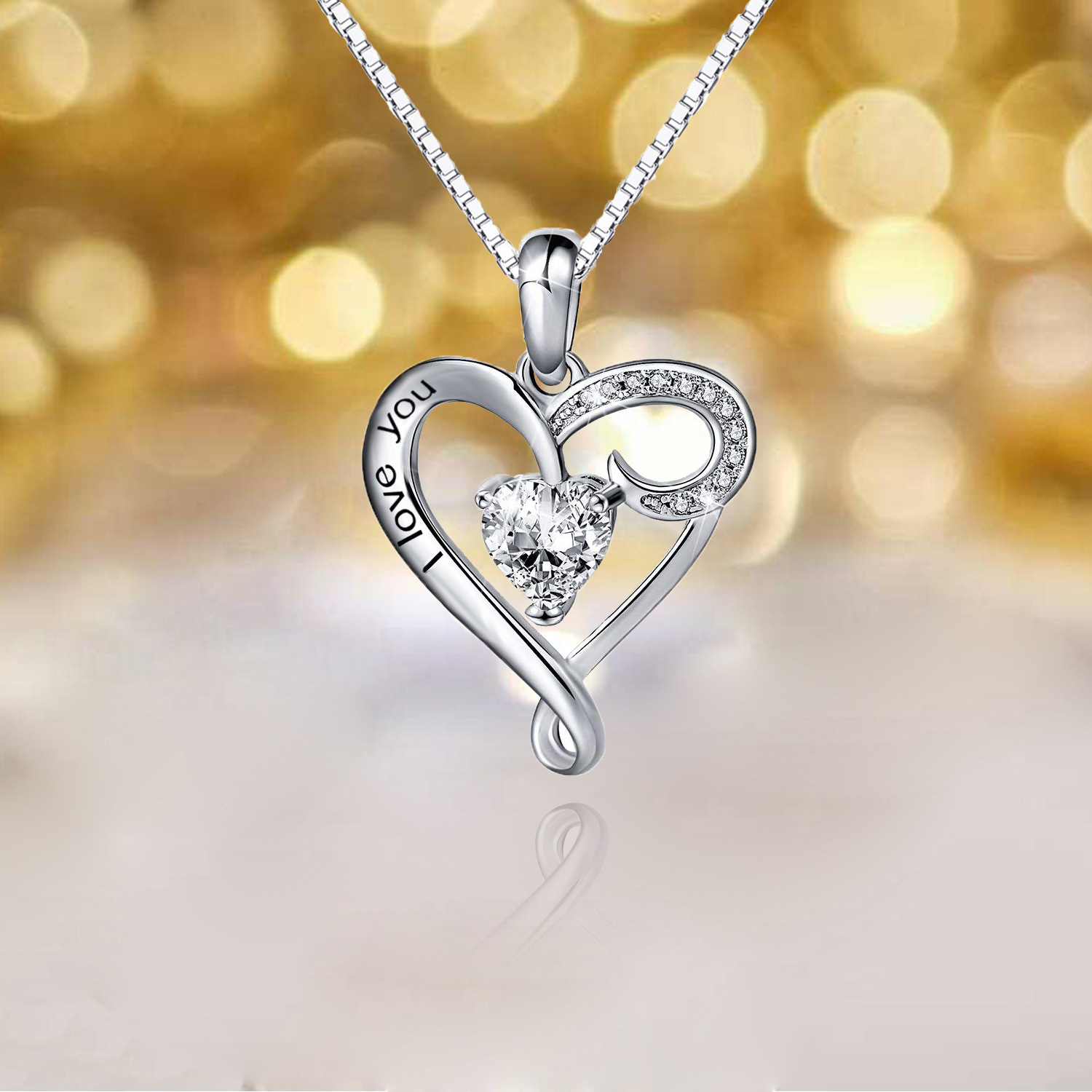 Fashion mom heart necklace 925 sterling silver jewelry