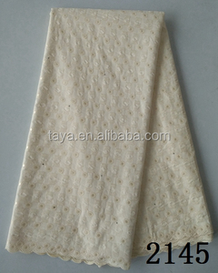 Alibaba trade assurance100% cotton voile fabric lace high quality embroidery swiss voile lace fabric