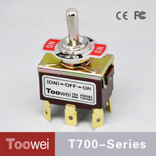 Toowei T702RT (ON)-OFF-ON Spring return toggle switch on motorcycle with 6 pins terminal