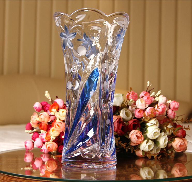 Wholesale beautiful colorful glass flower vase for home decoration,clear crystal glass vase