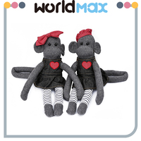 Top Selling Beautiful Gray Monkey Soft Baby Girls Toys