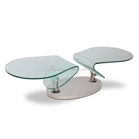 Rotating base Irregular Shape glass Table