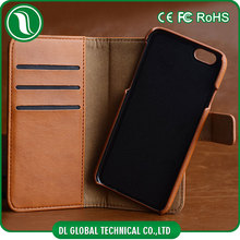 Handmade PU leather wallet cases magnet Tube Bar Clasp automatic actuation cell phone case with card slots for iphone 6s