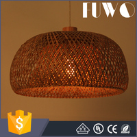 Sale high quality factory Chinese style half oval shaped bamboo weaving hanging big pendant double-deck lamp shade