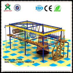 Kid play center Indoor jungle gym for kids, adventure playground equipment, kid climbing frame for sale QX-EP006