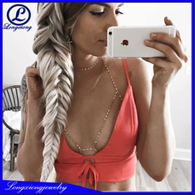 Fashion Barlaycs Sexy Metal Bra Body Chain Beaded Body Jewelry Matching Choker And Rave Bra Pearl Crystal Rave Bra Body Chain