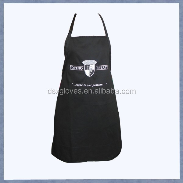 Black color heavy polyester/cotton white print logo master mason apron with pocket