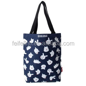 Lovely Cartoon Printing Disposable Recyclable Shopping Canvas Tote Bag