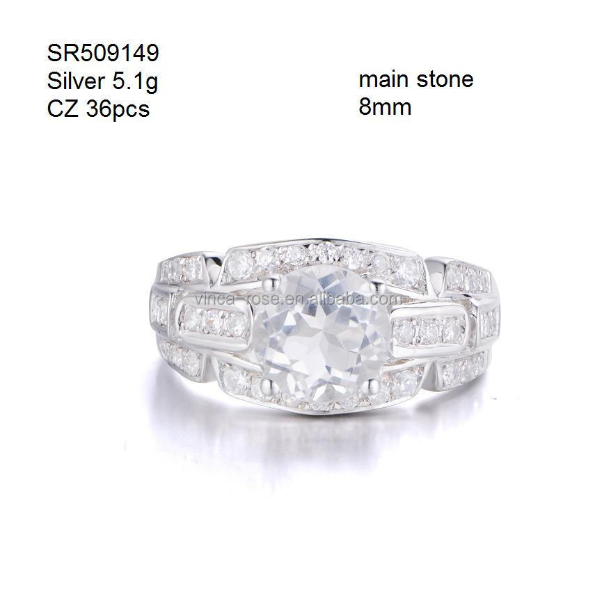 silver engagement ring 925 silver jewellery 1 carat white topaz wedding ring gold plated