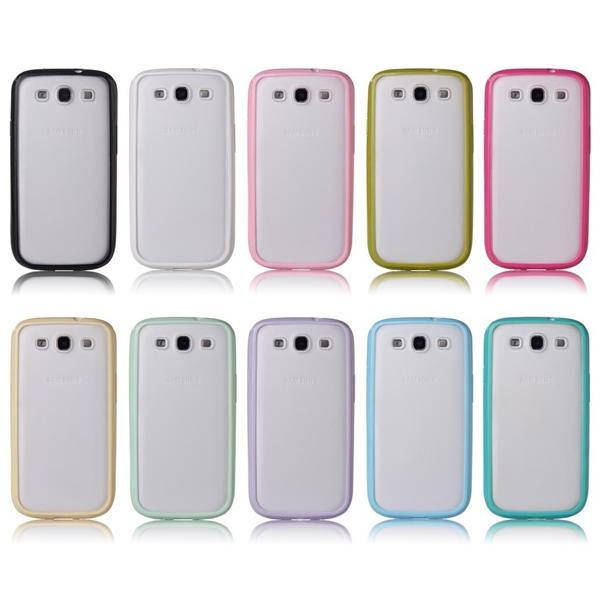 TPU Bumper Frame With Matte Transparent Back Cover Case For Samsung Galaxy S3 III i9300
