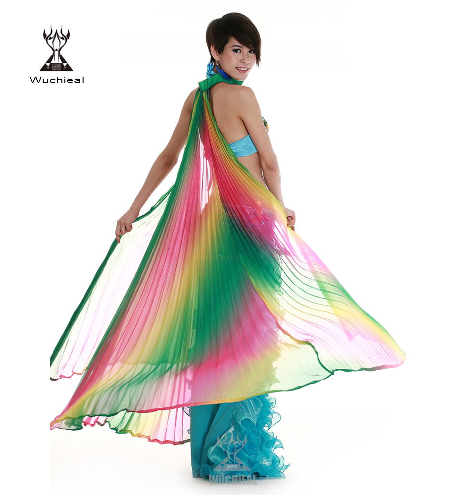 Colorful Gradient Belly Dance Wings Made of Yarn for Performance