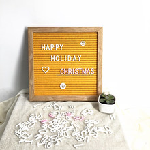 oak frame pumpkin yellow felt letter board with 340 letters for Christmas decoration