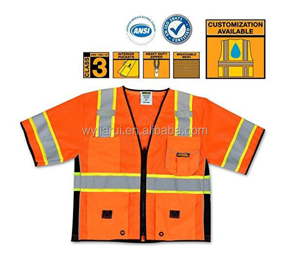 100% polyester mesh short sleeves security protection reflective safety vest ANSI/ISEA ,class 2