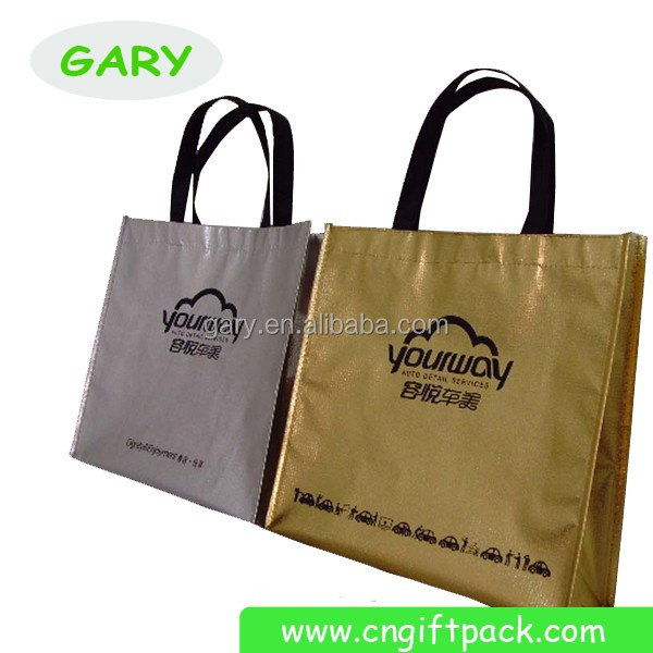 Laminated Film Bag/Wholesale Silver Metallic Tote Bag