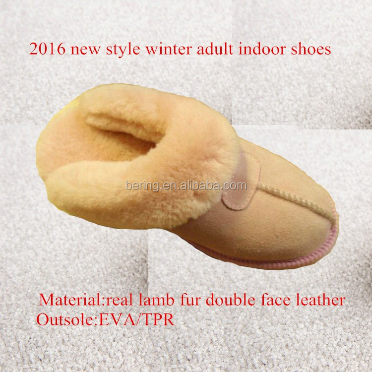 latest winter indoor slipper adult winter shoes real leather and shearling slipper