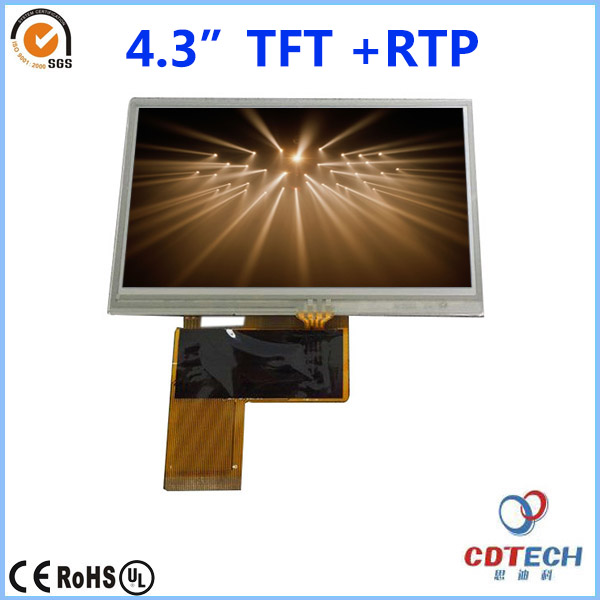 4.3 inch TFT LCD screen 480x272 resolution very bright LCD screen sunlight readable with resistive touch panel RTP S043WQ07HS-T