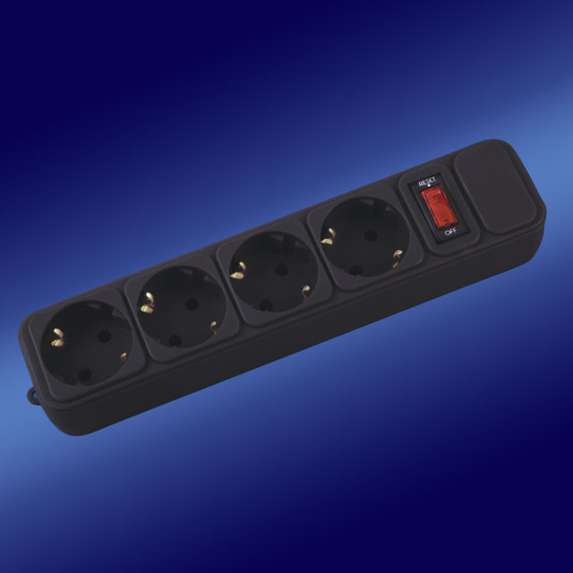 4 way 4 gang PP shell power strip socket with switch