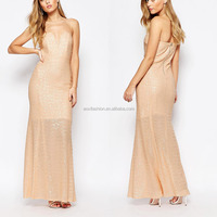 China clothing sleeveless gold sequined gown women maxi evening dress