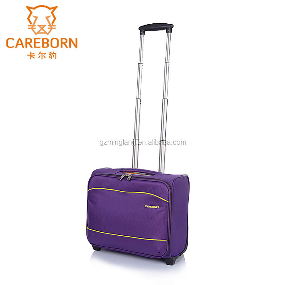 custom gift nylon material two casters travel trolley laptop luggage bag