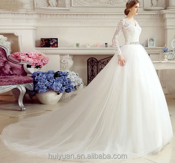 Latest Long Lace Sleeve Wedding Dresses Deep V Neck Bridal Gown