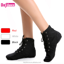 Lace Up Red Ankle Boots Jazz Shoes Canvas Cotton Indoor Dance Shoes Wholesale