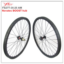 Boost carbon wheelset 35mm wide 25mm deep for mountain bike 27.5er, 650B MTB racing bike wheelset thru axle Novatec carbon wheel
