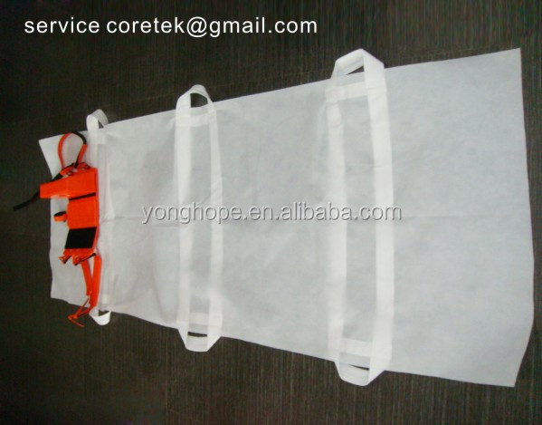 Medical biodegradable PP nonwoven fabric body bags with 6 handles for transfeser u