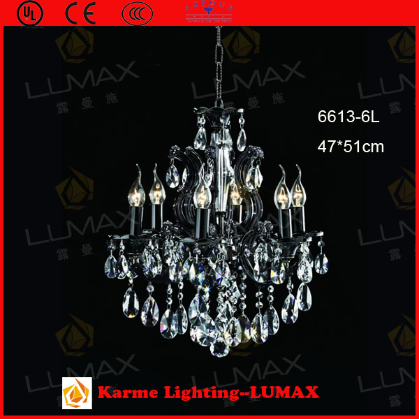 Karme LUMAX black chandelier crystal light #6613-6L