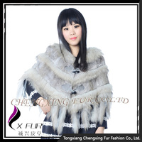CX-B-41B Ladies Nature Color Rabbit Fur Poncho Shawl