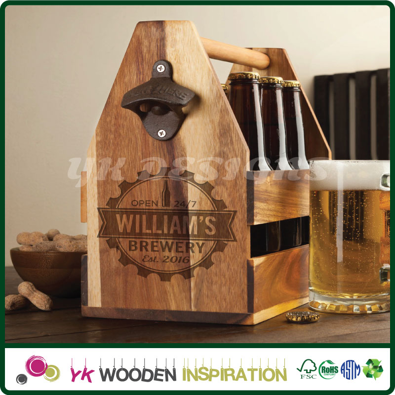 Wood beer caddy with opener in Hard Case