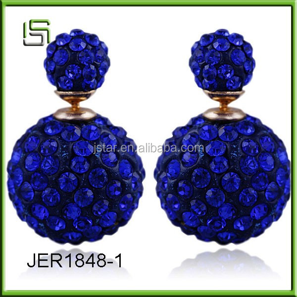 Wholesale new style fashion ball studded multicolor diamond earrings