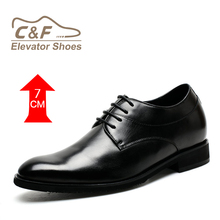 Wholesale Latest Height Increasing Men Black Leather Man Made Sole Office Dress Shoes Footwear