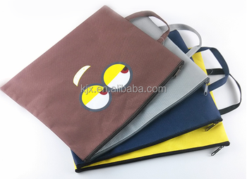 Canvas customed logo A4 document zipper bag with hanger