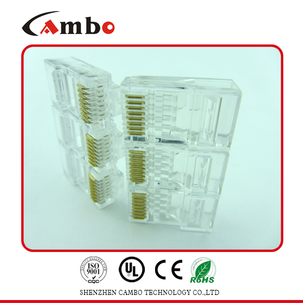 Made In China 8p8c fu/3u/50u gold plated unshielded rj45 cat 5 6 lan ethernet splitter connector adapt