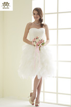 Floral Crystal beaded belt short wedding dress 2014
