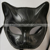 Factory Wholesale Fashion Black Woman Man Sexy Animal Full Face Dance Masquerade Cat Face Mask Vintage Cat Party Mask