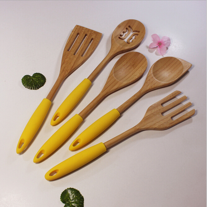 high quality 5-Piece Utensil Set bamboo Cutlery Mixing Spoon and fork with Silicone Handle