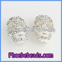 Fashion Crystal Pave Metal Base Silver Plated Metal Skull Beads Wholesale MSB001A