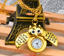 New Gold Mirror Case Pedant necklace Mens Analog Quartz gold Pocket Watches chain owl pocket watches