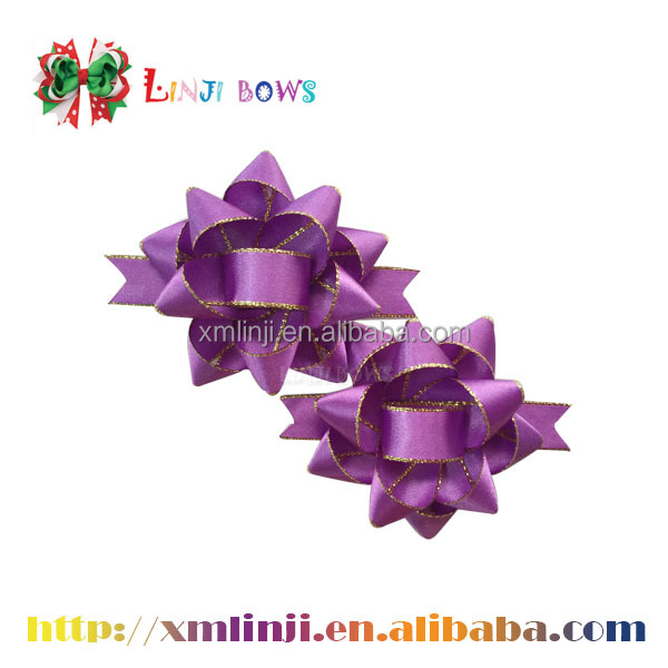2016 New Arrivial gold edge satin ribbon star bow for packing