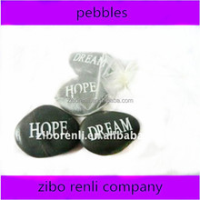 black high polished wording pebbles for decoration use