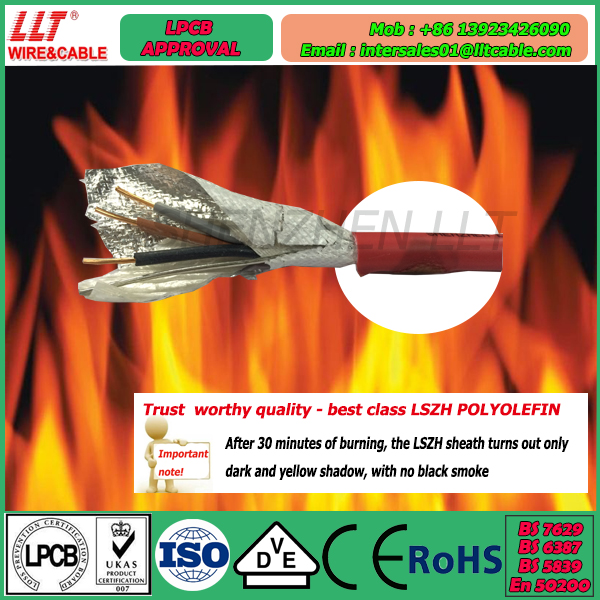 fire control cable No Burn test in 3 hours 950 degree Celsius fire cable