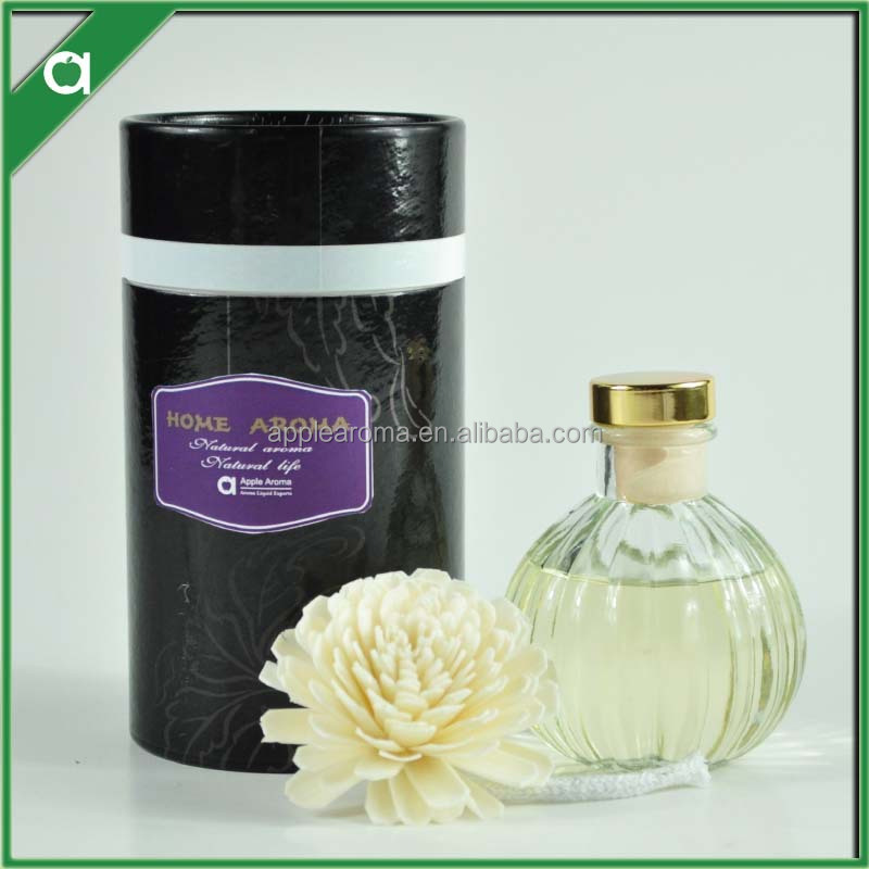 2015 new product/130ml fragrance diffuser in pumpkin glass bottle/ 1 sola flower /PAPER TUBE paper box