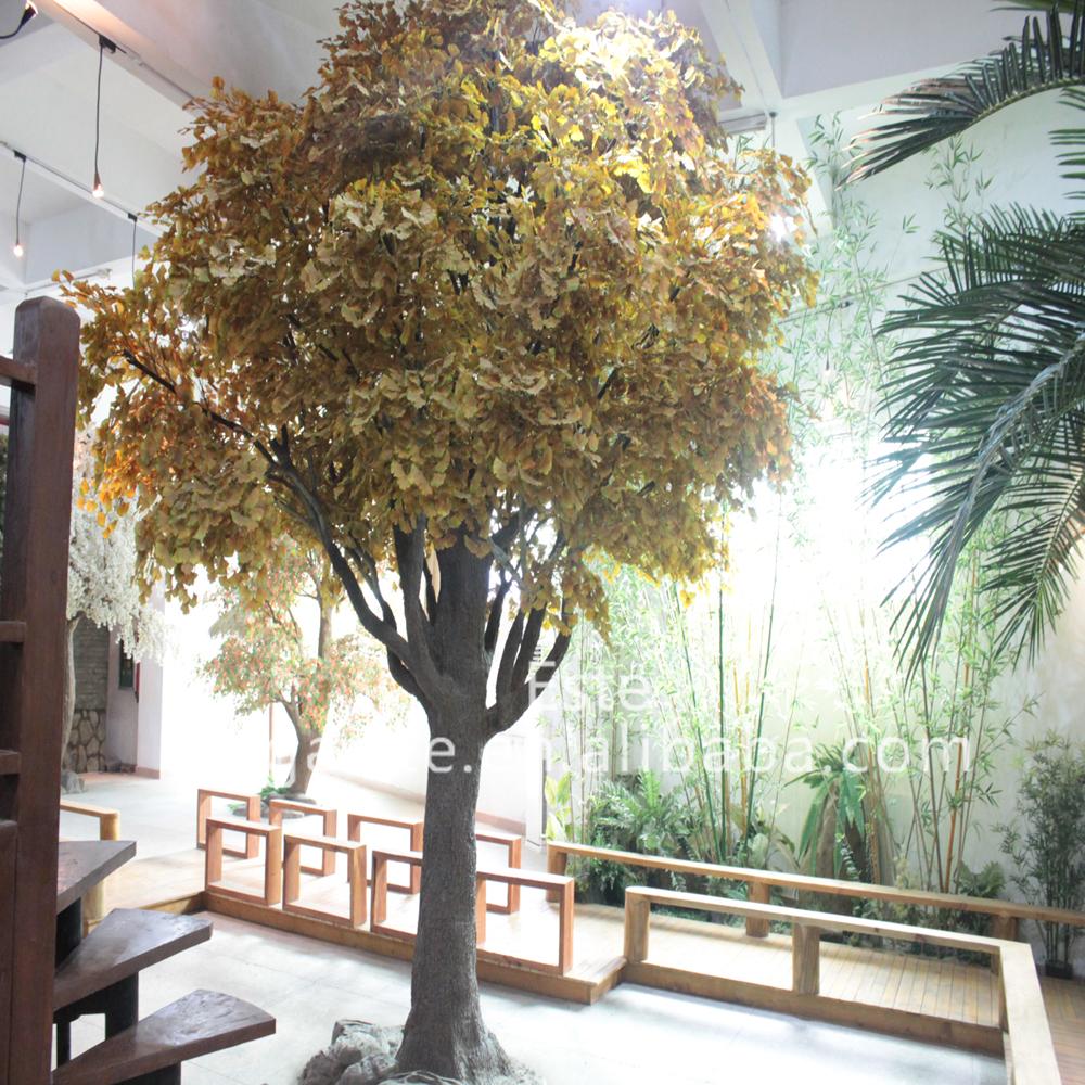 artificial large golden maple tree for home decoration or garden fabric cloth leaves