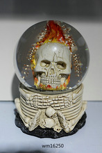 Resin Halloween Skeleton Snow Globe With music box and LED Light