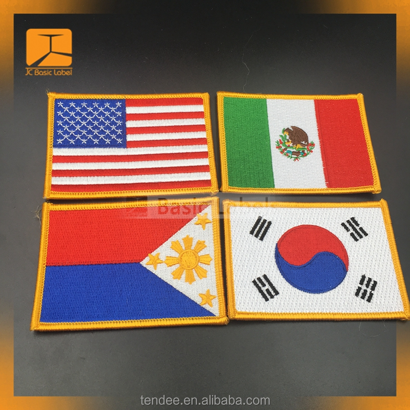 Custom national flag embroidery patch for kid cloth